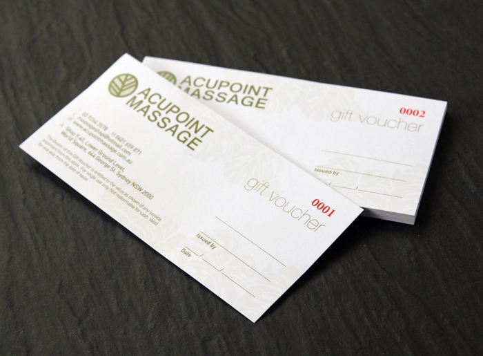 Single sided Gift Vouchers Print