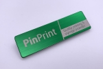 brushed stainless steel name badge engraved metal name tag green
