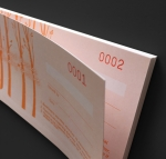 Cheque style gift voucher numbering effect